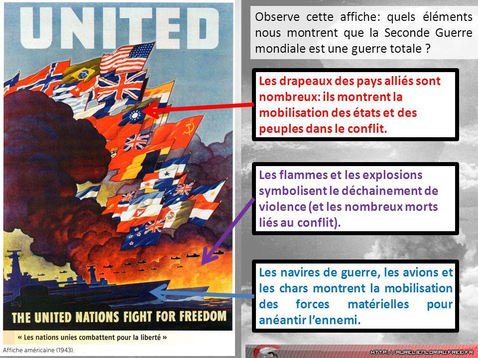 Observe cette affiche: quels éléments nous montrent que la Seconde Guerre mondiale est une guerre totale ? Les drapeaux des pays alliés sont nombreux: