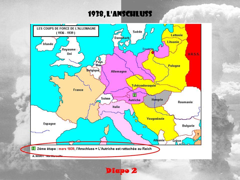 Hitler ne se sent pas menacé, il continue donc ses annexions Diapo 3 Les Sudètes sont une région de Tchécoslovaquie où la population est à majorité allemande.