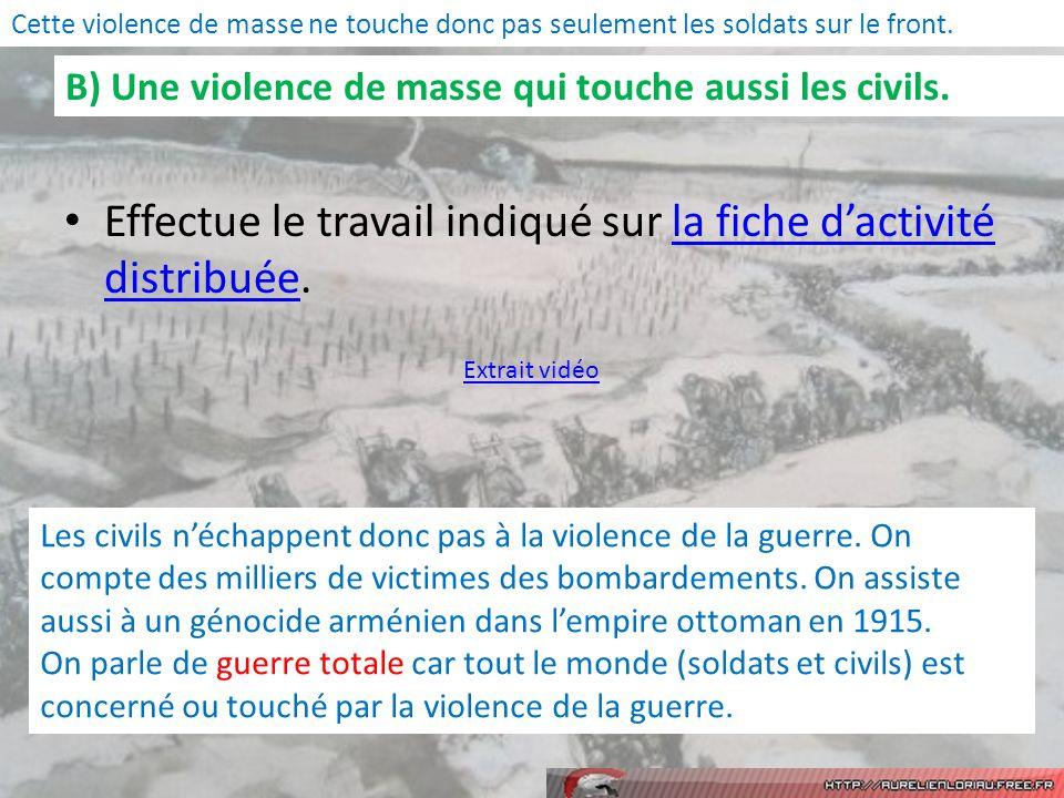 B) Une violence de masse qui touche aussi les civils.