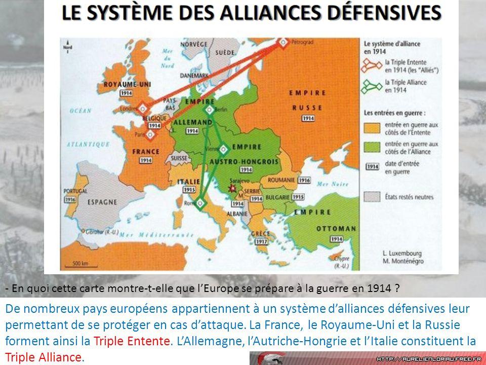 - En quoi cette carte montre-t-elle que lEurope se prépare à la guerre en 1914 .