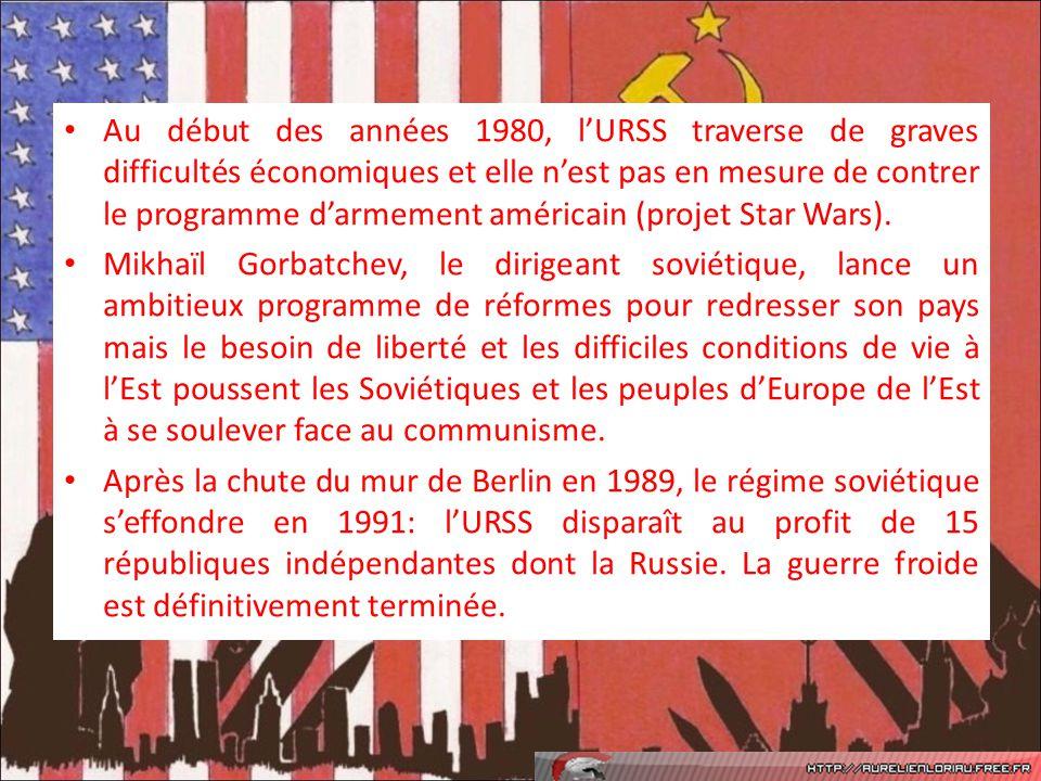 Au début des années 1980, lURSS traverse de graves difficultés économiques et elle nest pas en mesure de contrer le programme darmement américain (pro