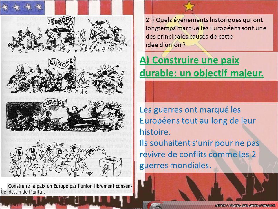 2°) Quels événements historiques qui ont longtemps marqué les Européens sont une des principales causes de cette idée dunion ? Les guerres ont marqué