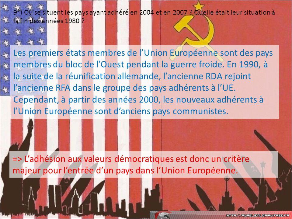 9°) Où se situent les pays ayant adhéré en 2004 et en 2007 ? Quelle était leur situation à la fin des années 1980 ? Les premiers états membres de lUni
