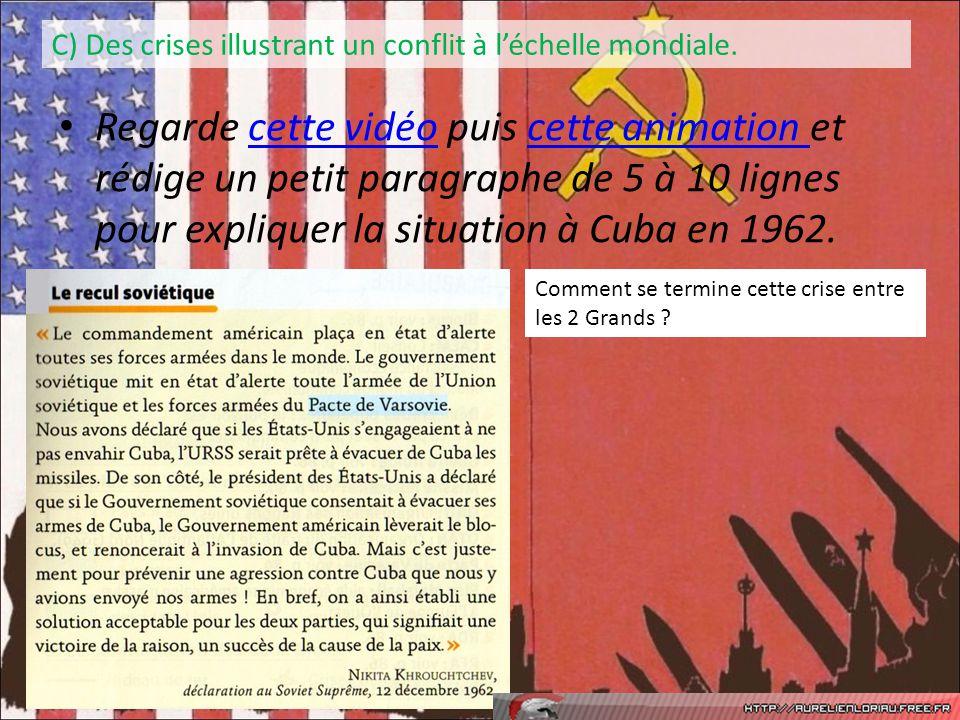 Regarde cette vidéo puis cette animation et rédige un petit paragraphe de 5 à 10 lignes pour expliquer la situation à Cuba en 1962.cette vidéocette an