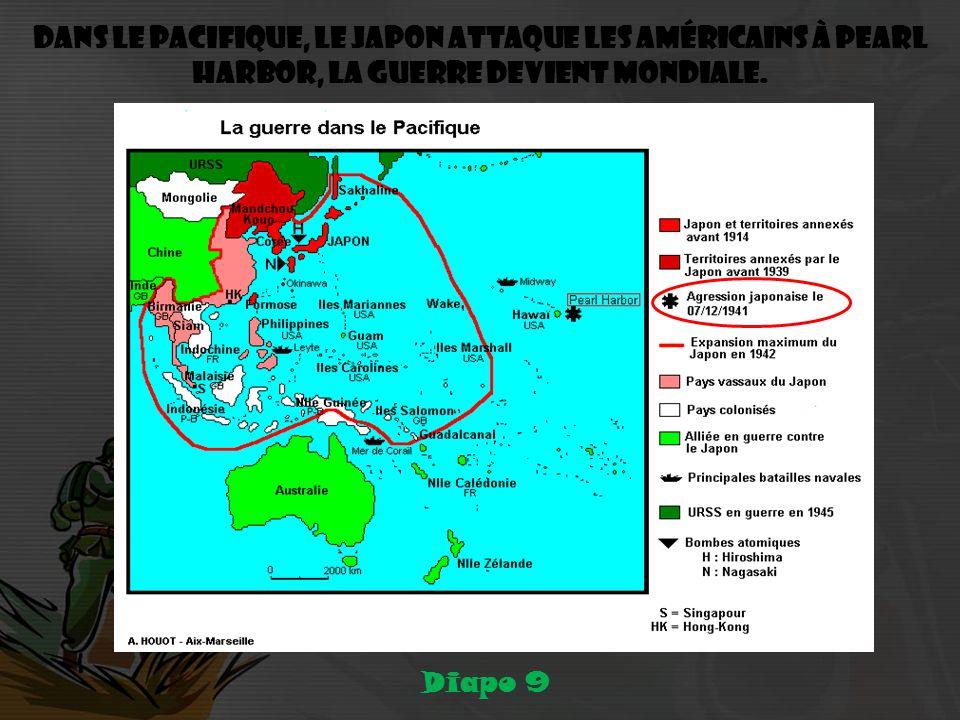 Dans le Pacifique, le Japon attaque les Américains à Pearl Harbor, la guerre devient mondiale.