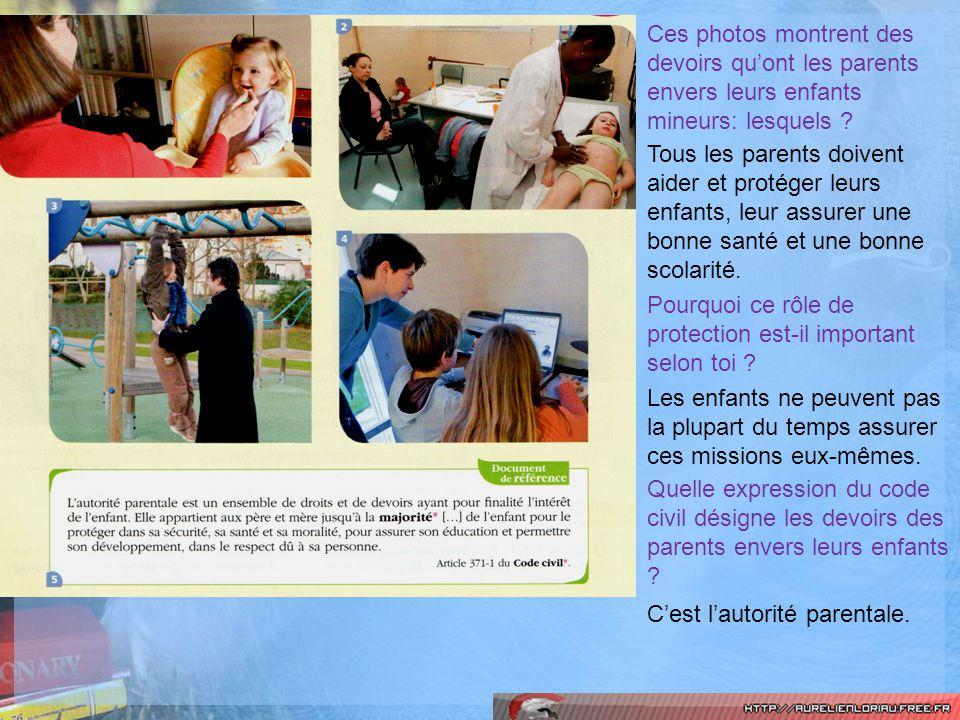 Ces photos montrent des devoirs quont les parents envers leurs enfants mineurs: lesquels .