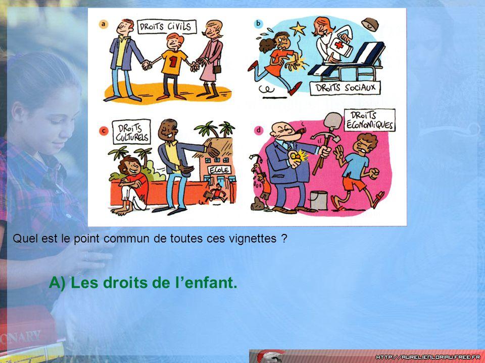 Quel est le point commun de toutes ces vignettes ? A) Les droits de lenfant.