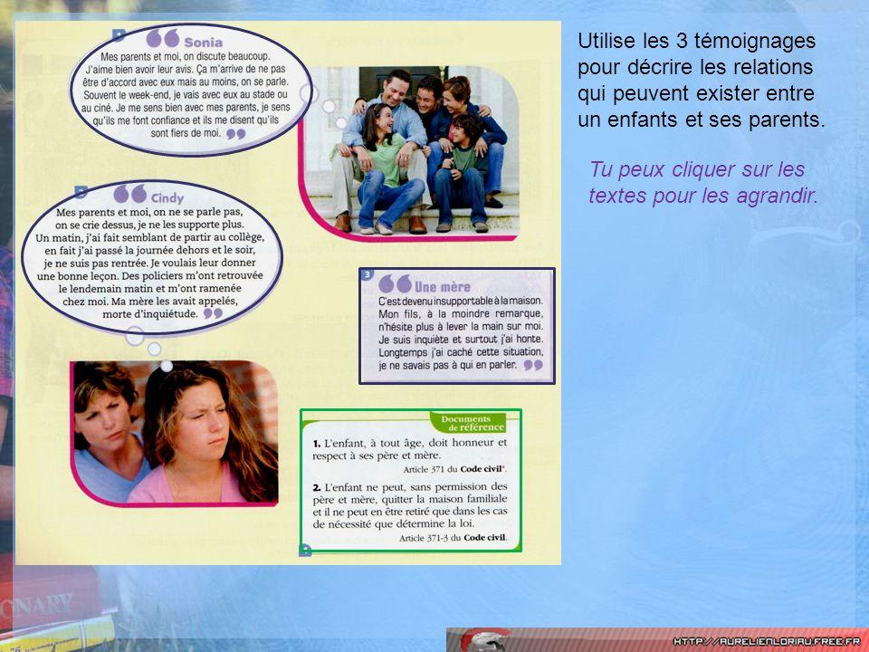 Utilise les 3 témoignages pour décrire les relations qui peuvent exister entre un enfants et ses parents. Tu peux cliquer sur les textes pour les agra