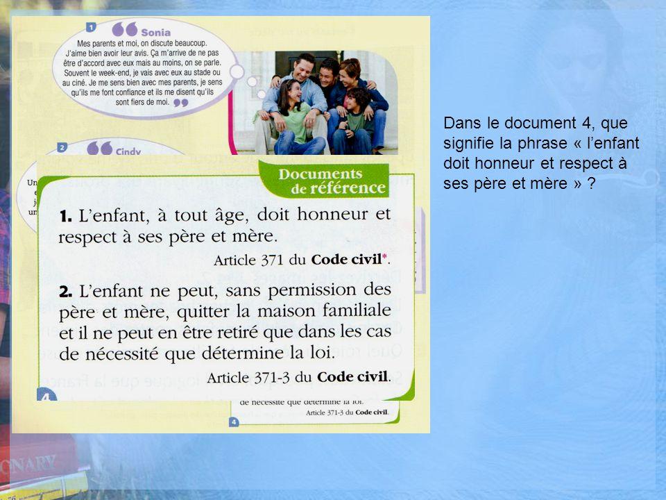 Dans le document 4, que signifie la phrase « lenfant doit honneur et respect à ses père et mère » ?
