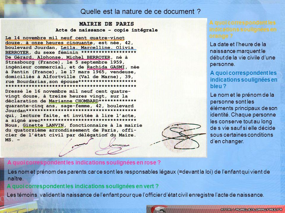 Quelle est la nature de ce document ? A quoi correspondent les indications soulignées en orange ? La date et lheure de la naissance marquent le début