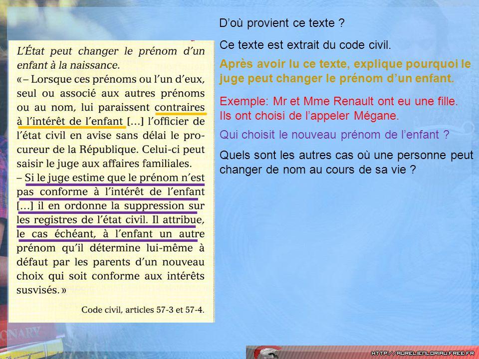 Doù provient ce texte ? Ce texte est extrait du code civil. Après avoir lu ce texte, explique pourquoi le juge peut changer le prénom dun enfant. Exem