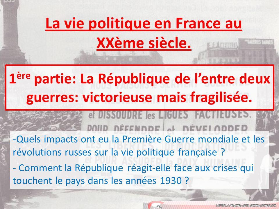 1 ère partie: La République de lentre deux guerres: victorieuse mais fragilisée.