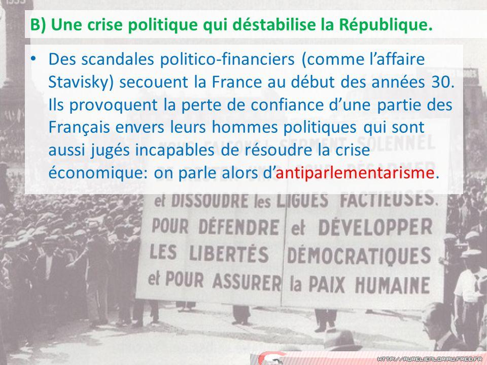 Des scandales politico-financiers (comme laffaire Stavisky) secouent la France au début des années 30.