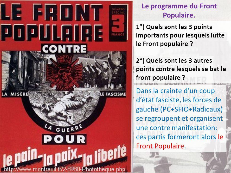 Le programme du Front Populaire.