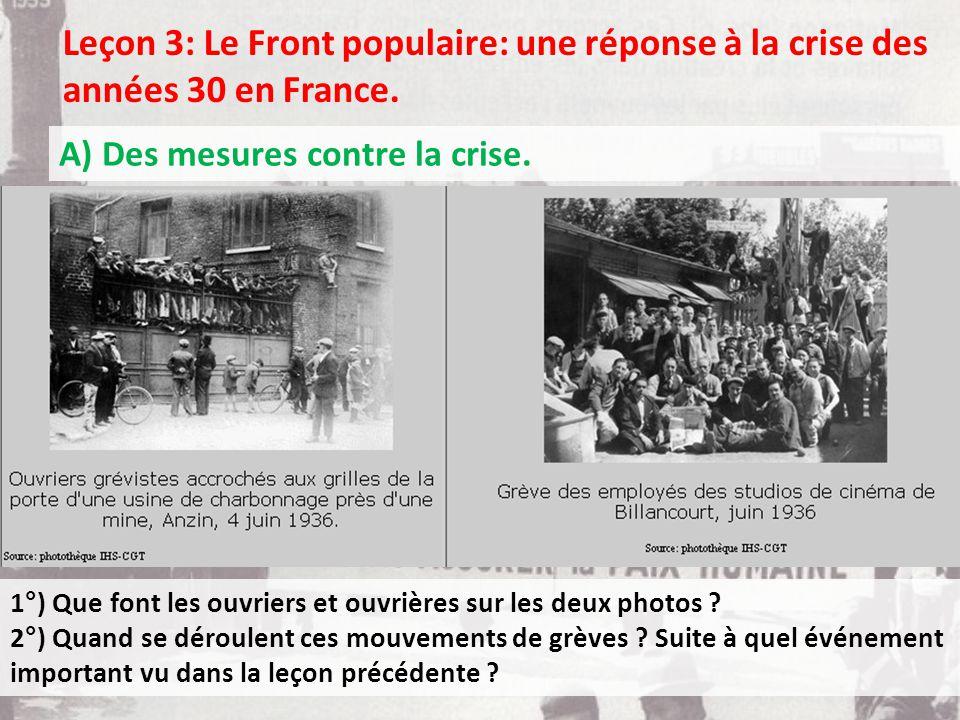 Leçon 3: Le Front populaire: une réponse à la crise des années 30 en France.