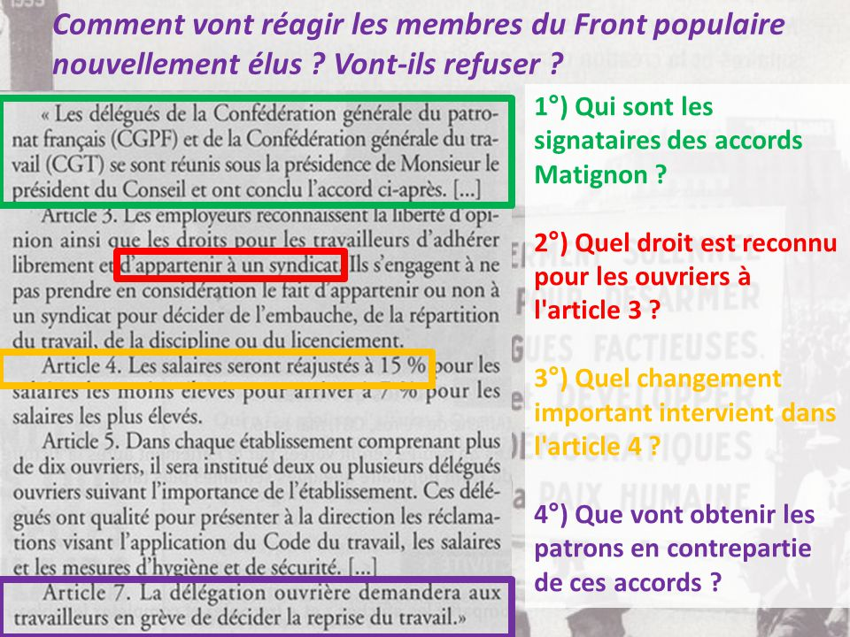 Comment vont réagir les membres du Front populaire nouvellement élus .