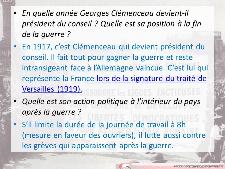 En quelle année Georges Clémenceau devient-il président du conseil .