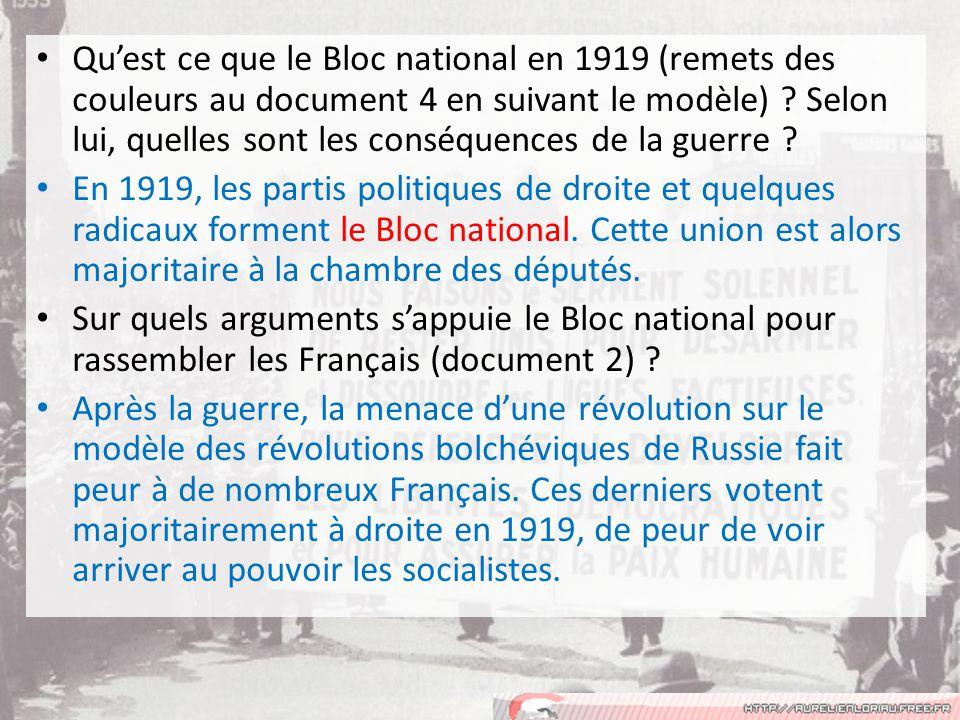 Quest ce que le Bloc national en 1919 (remets des couleurs au document 4 en suivant le modèle) .