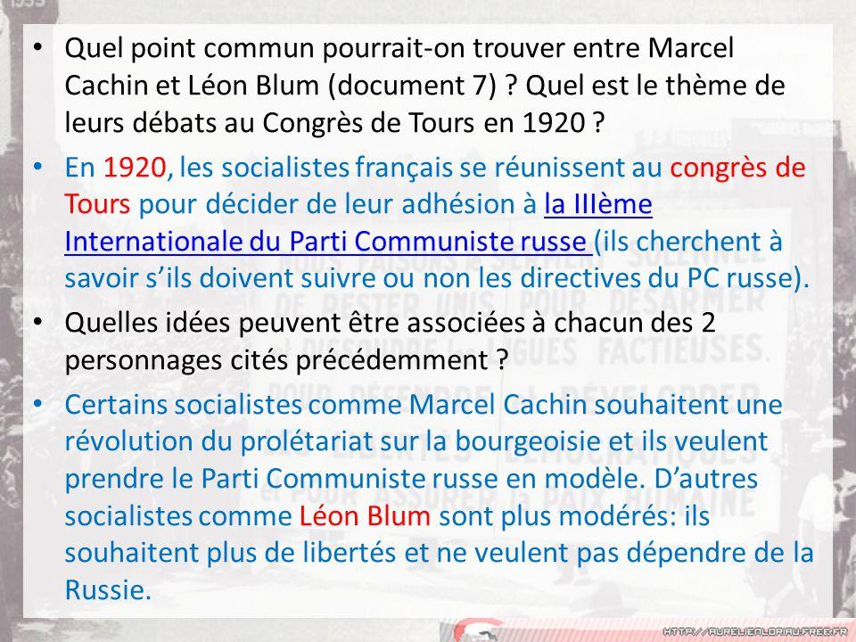 Quel point commun pourrait-on trouver entre Marcel Cachin et Léon Blum (document 7) .