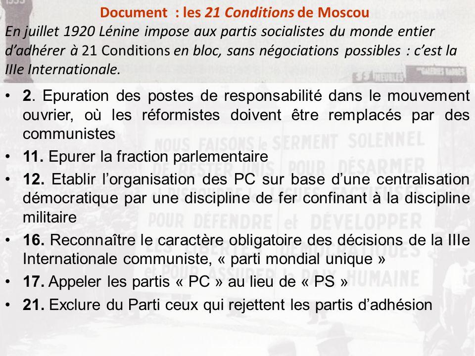 2. Epuration des postes de responsabilité dans le mouvement ouvrier, où les réformistes doivent être remplacés par des communistes 11. Epurer la fract