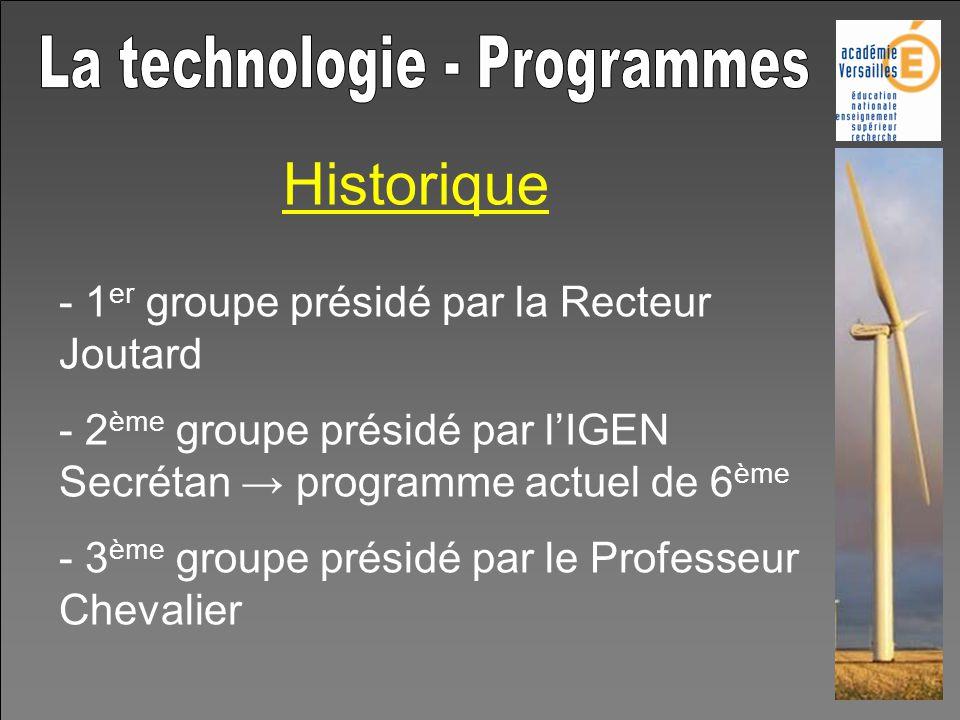 Historique - 1 er groupe présidé par la Recteur Joutard - 2 ème groupe présidé par lIGEN Secrétan programme actuel de 6 ème - 3 ème groupe présidé par