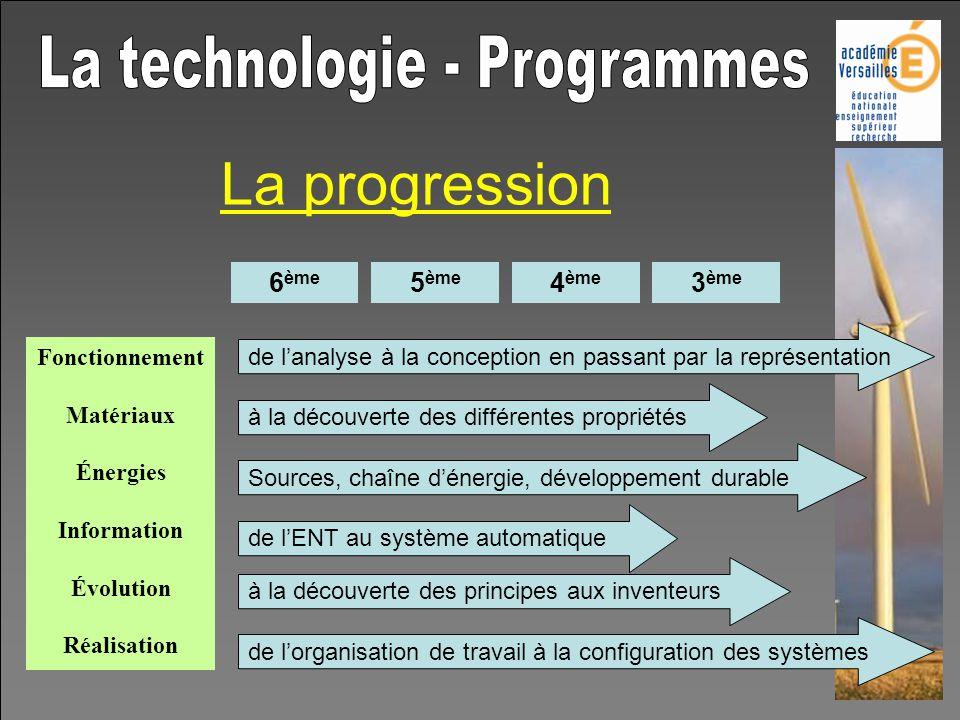 La progression 6 ème 5 ème 4 ème 3 ème Fonctionnement Matériaux Énergies Information Évolution Réalisation de lanalyse à la conception en passant par