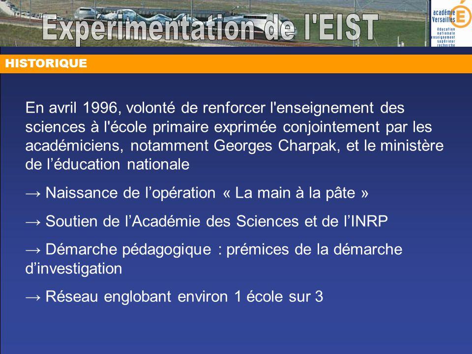 HISTORIQUE En avril 1996, volonté de renforcer l'enseignement des sciences à l'école primaire exprimée conjointement par les académiciens, notamment G