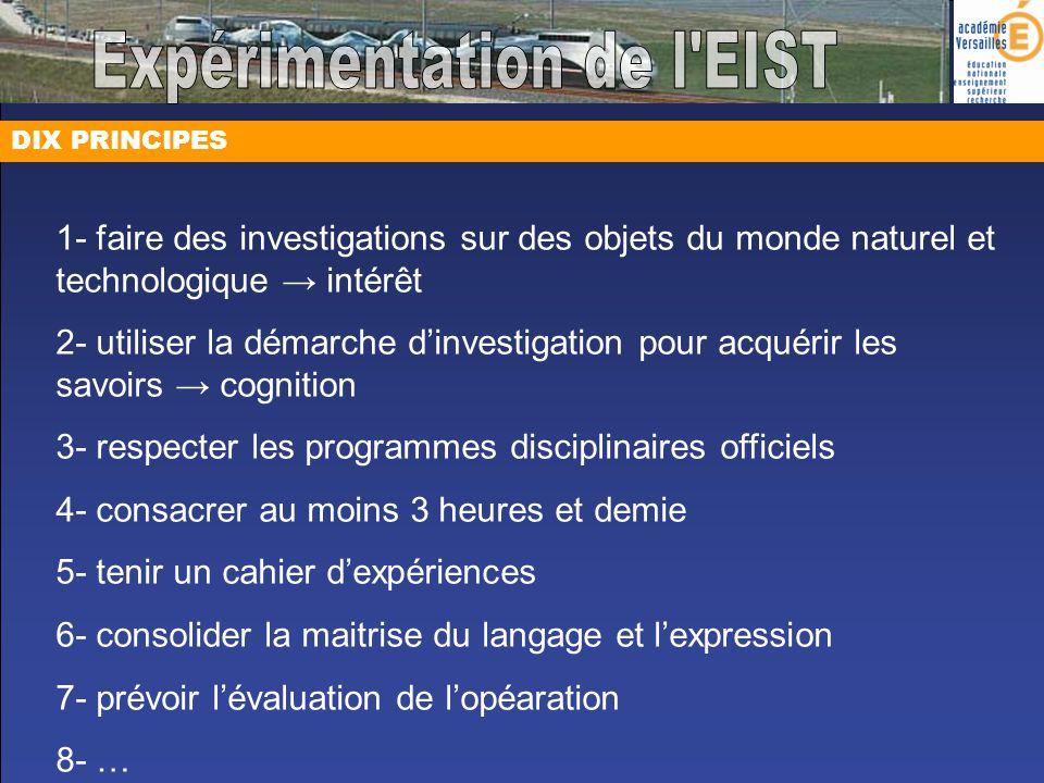 DIX PRINCIPES 1- faire des investigations sur des objets du monde naturel et technologique intérêt 2- utiliser la démarche dinvestigation pour acquéri