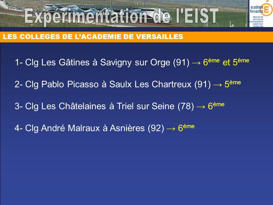 LES COLLEGES DE LACADEMIE DE VERSAILLES 1- Clg Les Gâtines à Savigny sur Orge (91) 6 ème et 5 ème 2- Clg Pablo Picasso à Saulx Les Chartreux (91) 5 èm