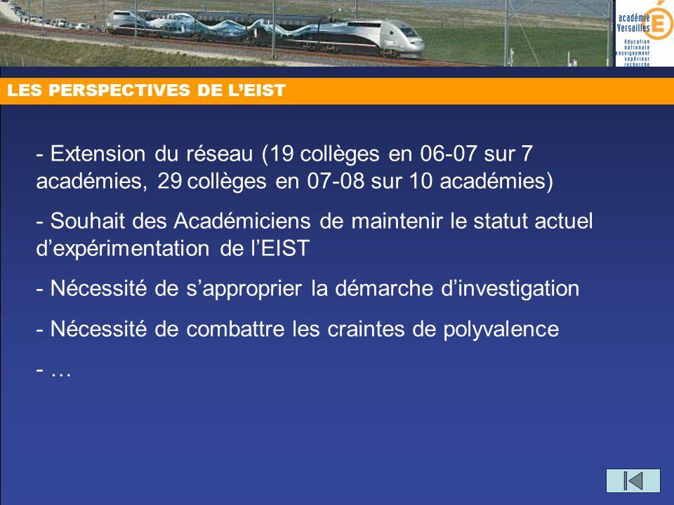 LES PERSPECTIVES DE LEIST - Extension du réseau (19 collèges en 06-07 sur 7 académies, 29 collèges en 07-08 sur 10 académies) - Souhait des Académicie
