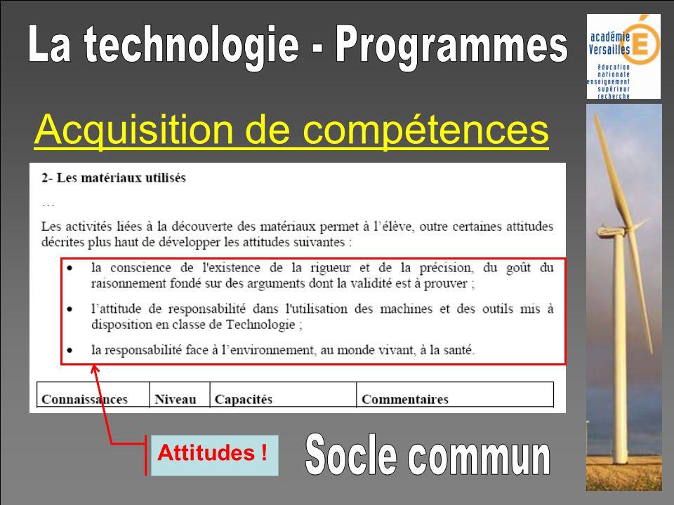 Acquisition de compétences Attitudes !