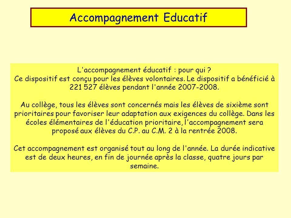 Accompagnement Educatif L accompagnement éducatif : pour qui .