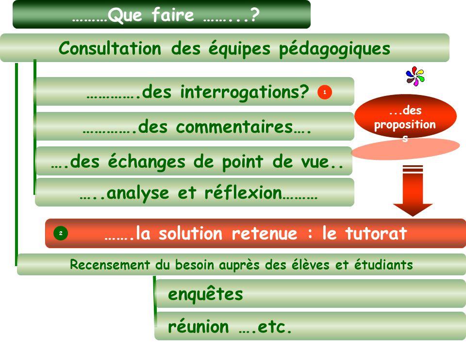 ………Que faire ……...?...des proposition s …….la solution retenue : le tutorat Consultation des équipes pédagogiques enquêtes réunion ….etc. …..analyse e