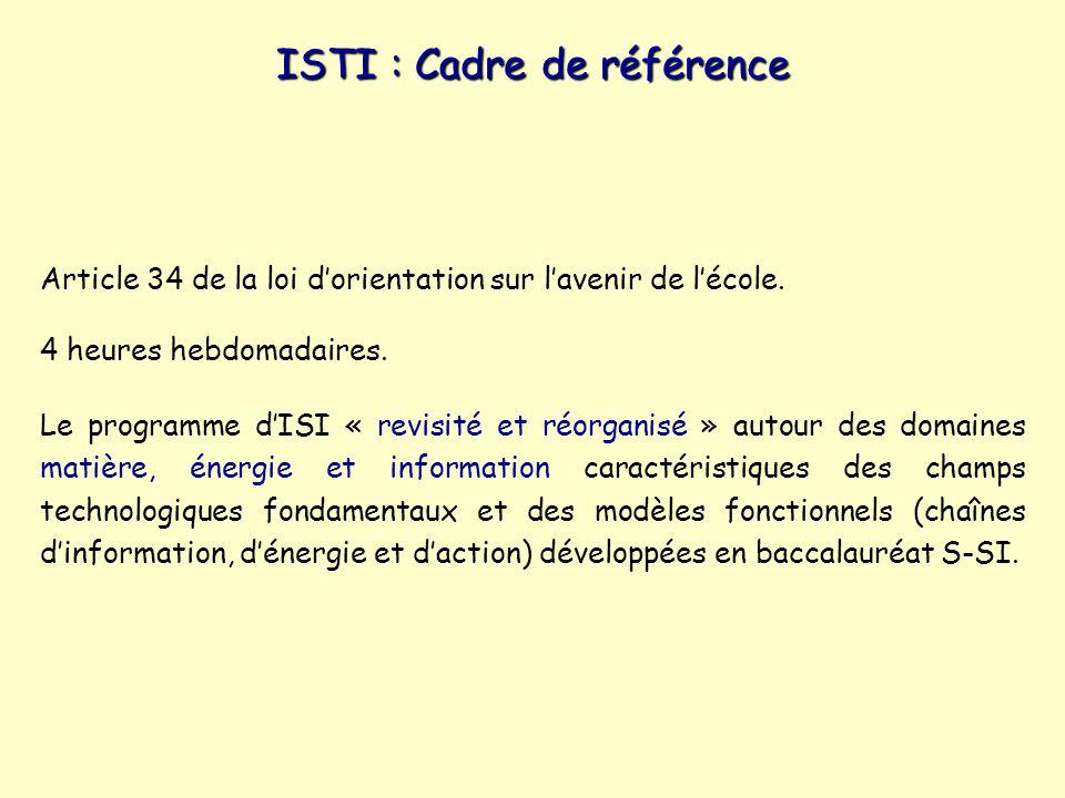 ISTI : Cadre de référence Article 34 de la loi dorientation sur lavenir de lécole.