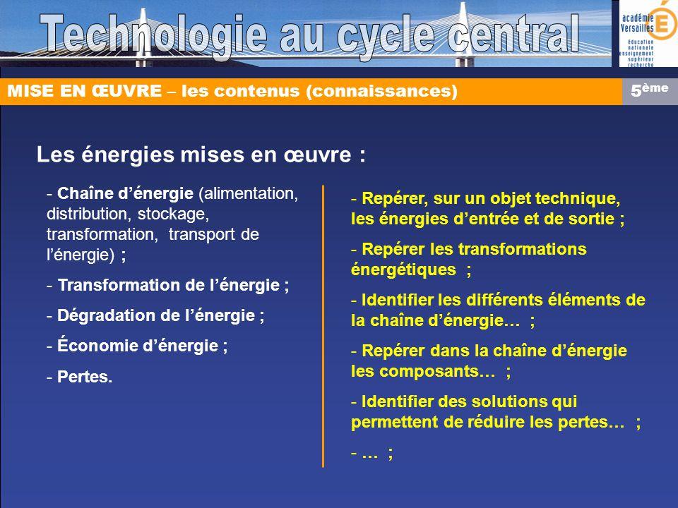MISE EN ŒUVRE – les contenus (connaissances) Les énergies mises en œuvre : - Chaîne dénergie (alimentation, distribution, stockage, transformation, transport de lénergie) ; - Transformation de lénergie ; - Dégradation de lénergie ; - Économie dénergie ; - Pertes.