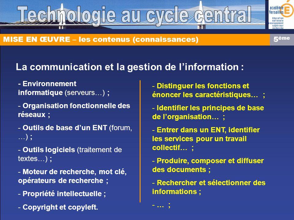 MISE EN ŒUVRE – les contenus (connaissances) La communication et la gestion de linformation : - Environnement informatique (serveurs…) ; - Organisatio
