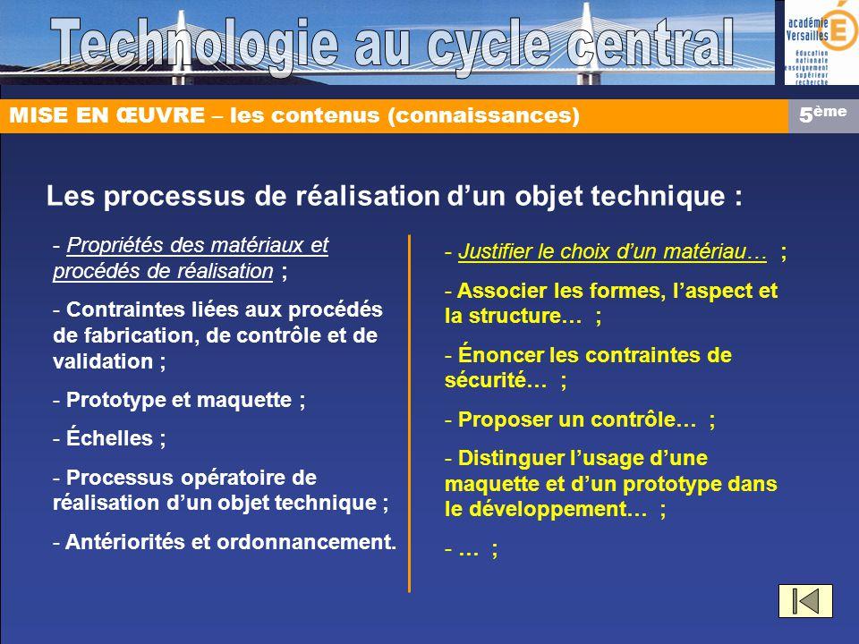 MISE EN ŒUVRE – les contenus (connaissances) Les processus de réalisation dun objet technique : - Propriétés des matériaux et procédés de réalisation