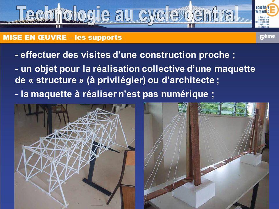 MISE EN ŒUVRE – les supports - effectuer des visites dune construction proche ; - un objet pour la réalisation collective dune maquette de « structure » (à privilégier) ou darchitecte ; - la maquette à réaliser nest pas numérique ; 5 ème