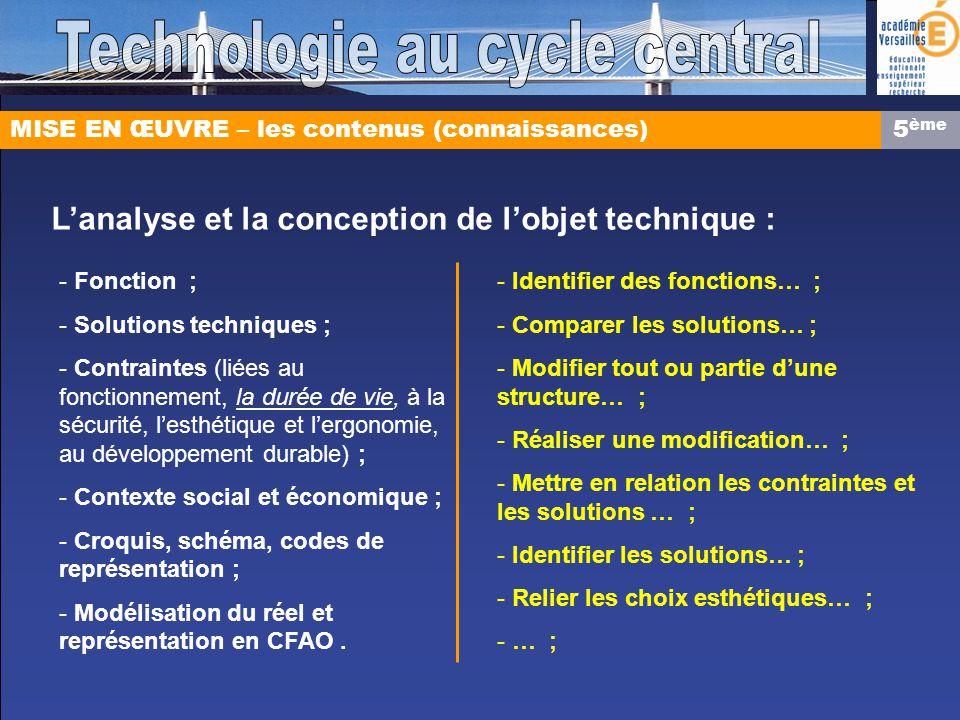 MISE EN ŒUVRE – les contenus (connaissances) Lanalyse et la conception de lobjet technique : - Fonction ; - Solutions techniques ; - Contraintes (liée