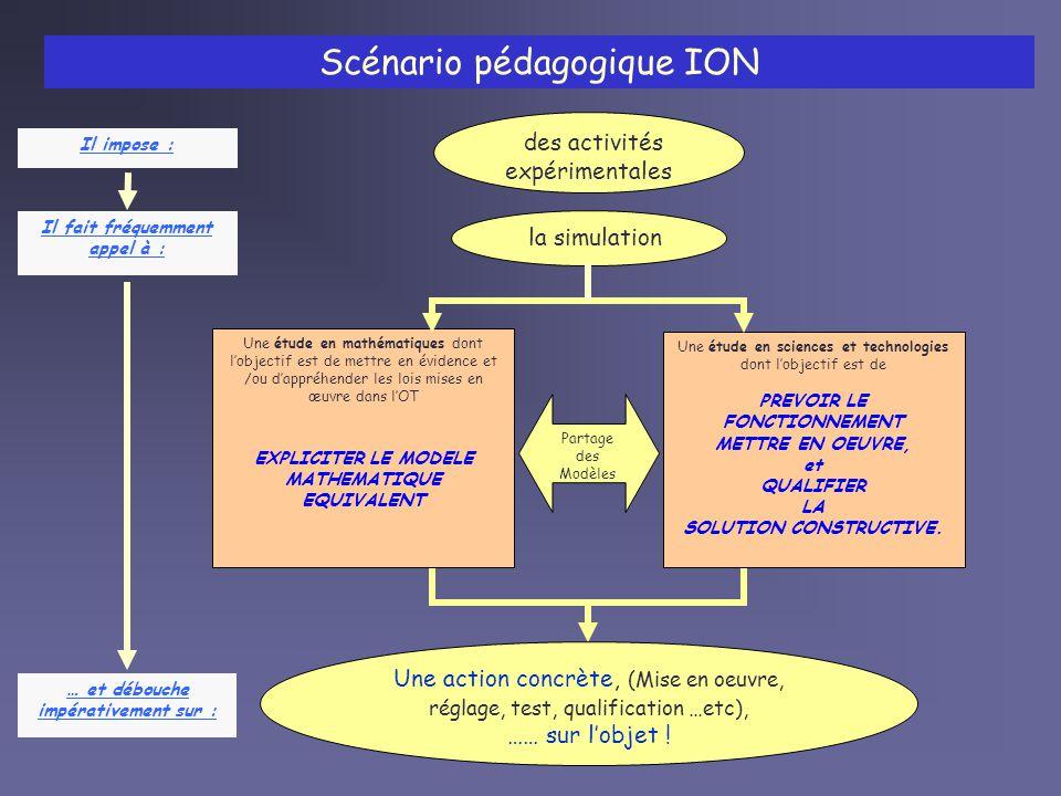 Scénario pédagogique ION Une action concrète, (Mise en oeuvre, réglage, test, qualification …etc), …… sur lobjet .