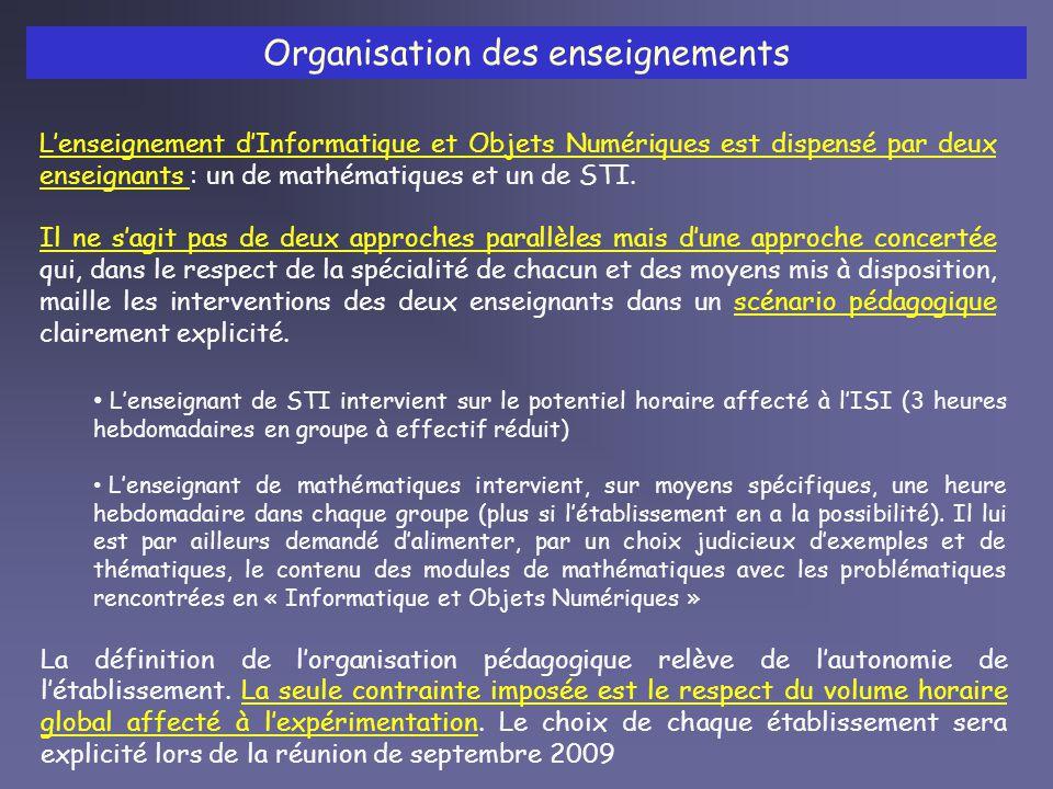 Les programmes Il ny a pas de programmes spécifiques à lenseignement dInformatique et Objets Numériques.