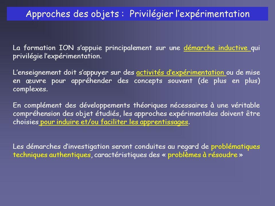 Approches des objets : Privilégier lexpérimentation La formation ION sappuie principalement sur une démarche inductive qui privilégie lexpérimentation.