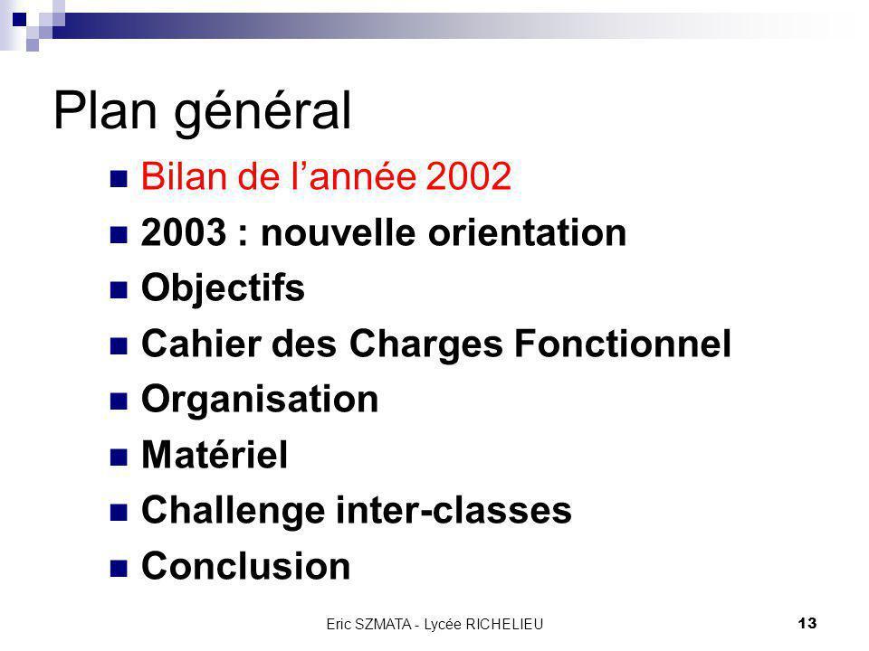 Eric SZMATA - Lycée RICHELIEU12 Plan général Bilan de lannée 2002 2003 : nouvelle orientation Objectifs Cahier des Charges Fonctionnel Organisation Ma