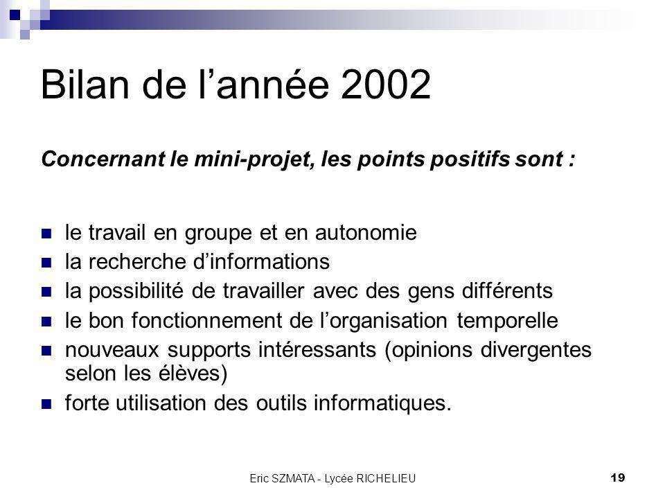 Eric SZMATA - Lycée RICHELIEU18 Bilan de lannée 2002 Concernant lannée avant le mini-projet, les points négatifs sont : certains cours : dessin techni