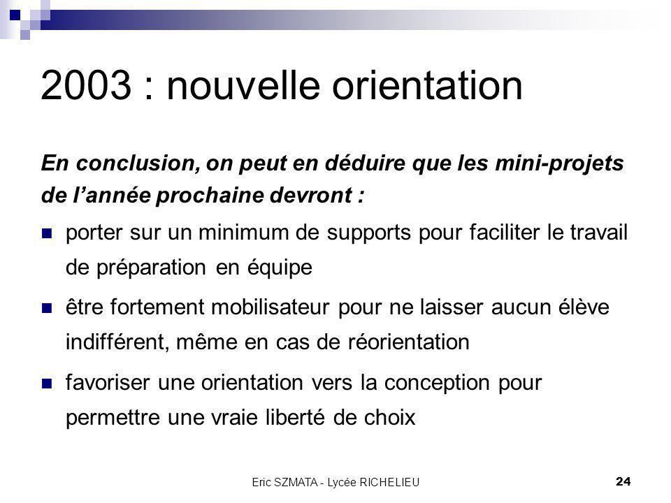 Eric SZMATA - Lycée RICHELIEU23 Plan général Bilan de lannée 2002 2003 : nouvelle orientation Objectifs Cahier des Charges Fonctionnel Organisation Ma