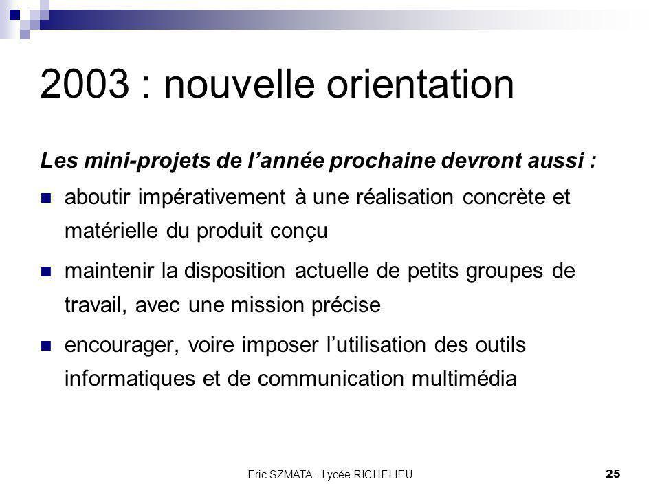 Eric SZMATA - Lycée RICHELIEU24 2003 : nouvelle orientation En conclusion, on peut en déduire que les mini-projets de lannée prochaine devront : porte