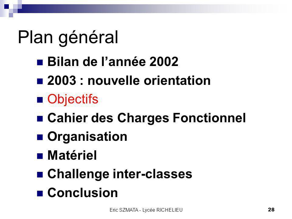 Eric SZMATA - Lycée RICHELIEU27 2003 : nouvelle orientation Une proposition de mini-projet conciliant tous ces points pourrait être de CONCEVOIR & REA