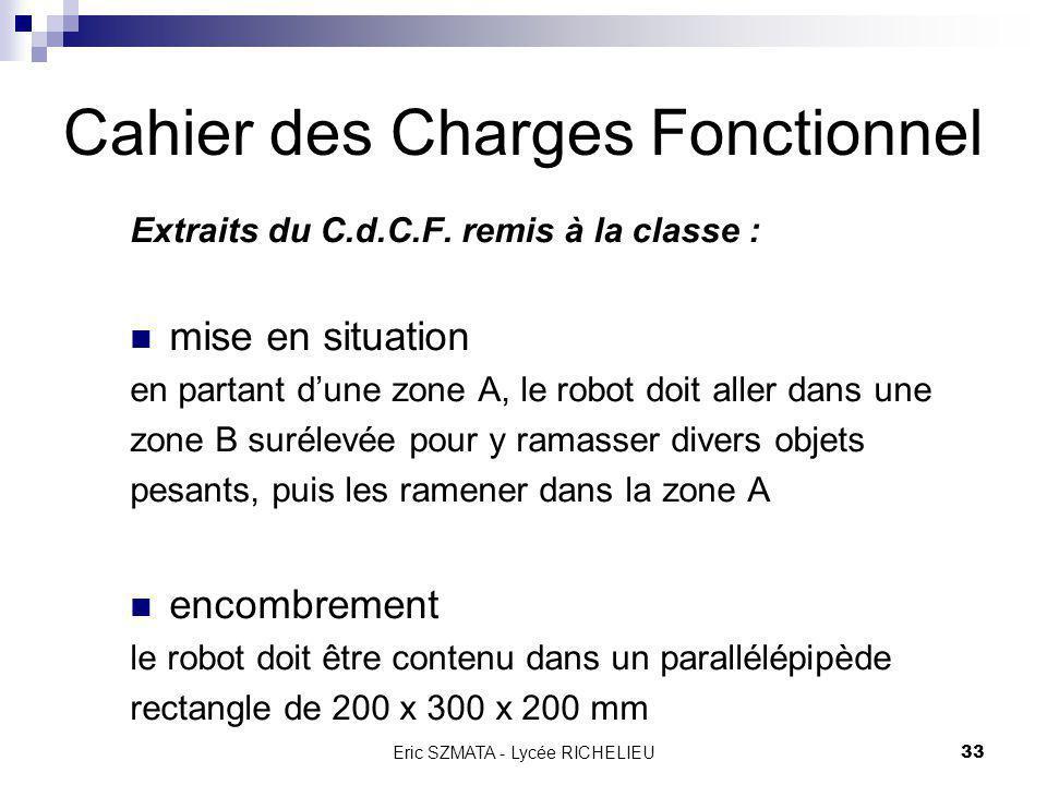 Eric SZMATA - Lycée RICHELIEU32 Plan général Bilan de lannée 2002 2003 : nouvelle orientation Objectifs Cahier des Charges Fonctionnel Organisation Ma