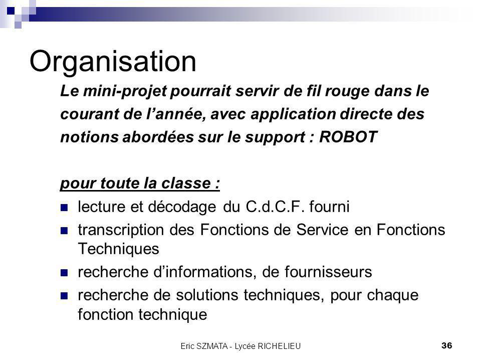 Eric SZMATA - Lycée RICHELIEU35 Plan général Bilan de lannée 2002 2003 : nouvelle orientation Objectifs Cahier des Charges Fonctionnel Organisation Ma