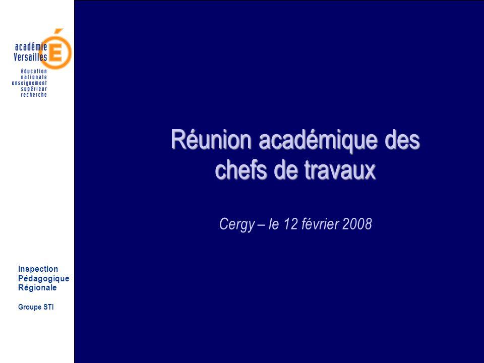 Inspection Pédagogique Régionale Groupe STI Réunion académique des chefs de travaux Réunion académique des chefs de travaux Cergy – le 12 février 2008